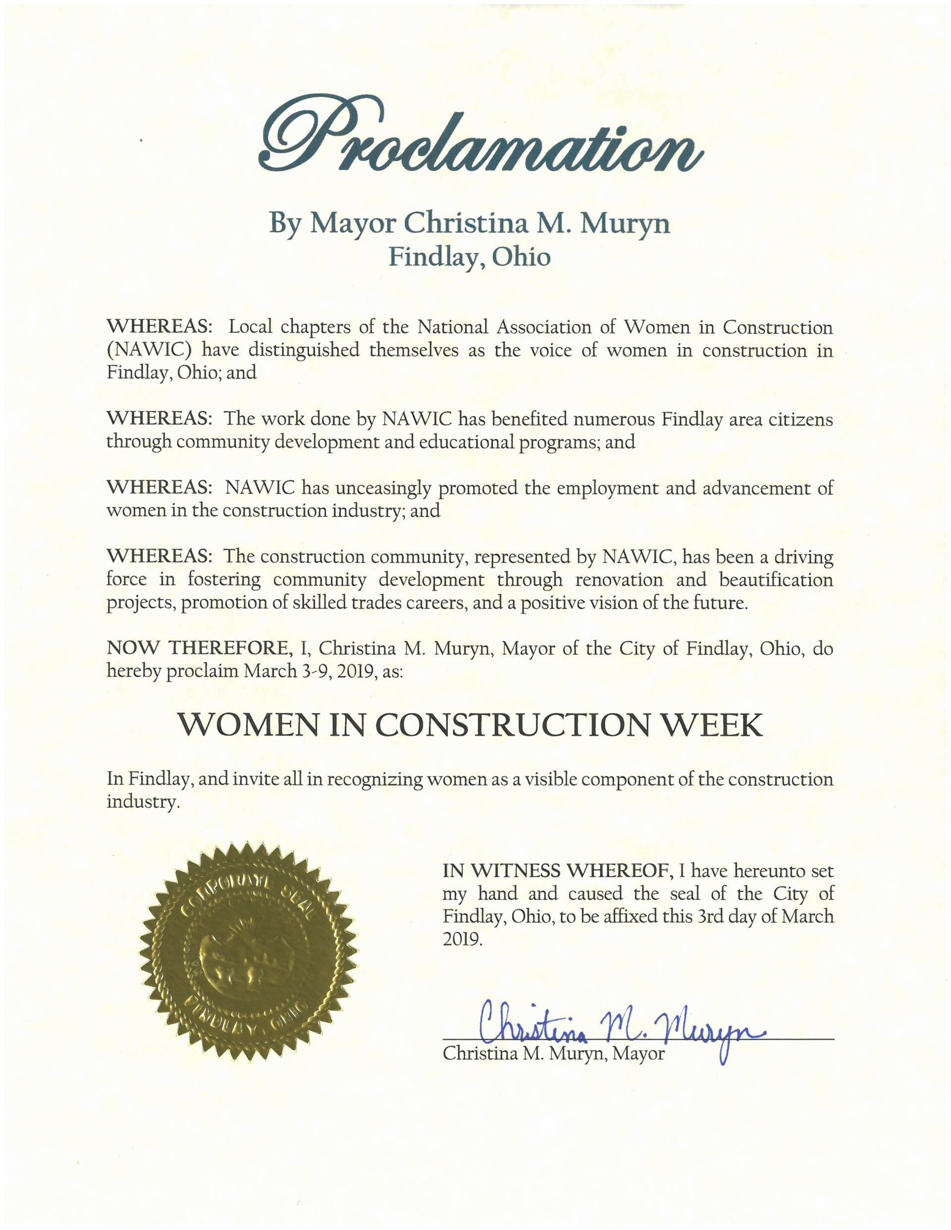 Proclamation-Women in Construction Week