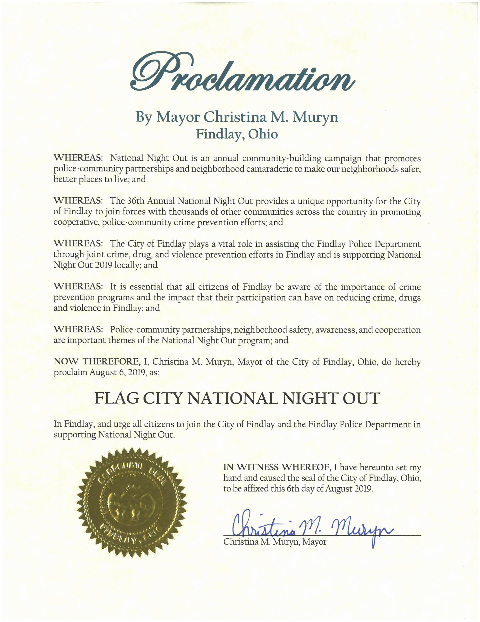2019.08.06.Flag City National Night Out Proclamation