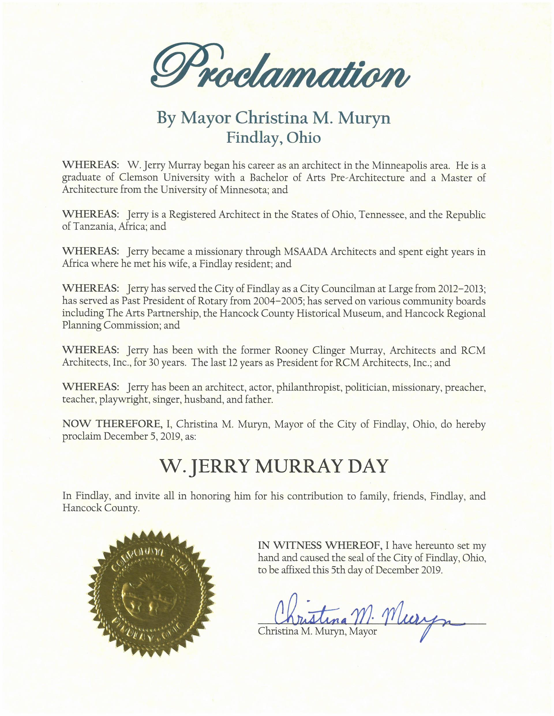 2019.12.05.W. Jerry Murray Day