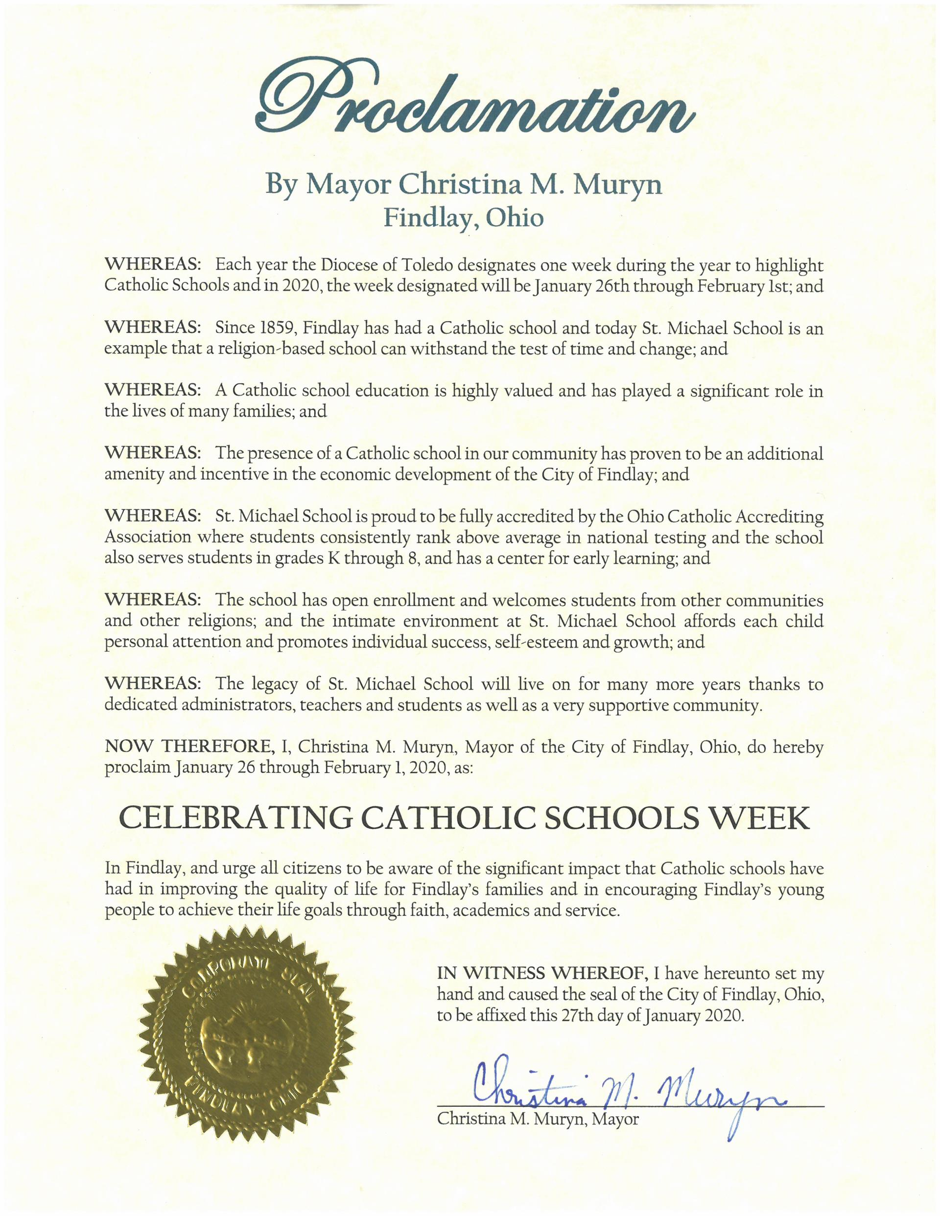 2020.01.27.Celebrating Catholic Schools Week Proclamation