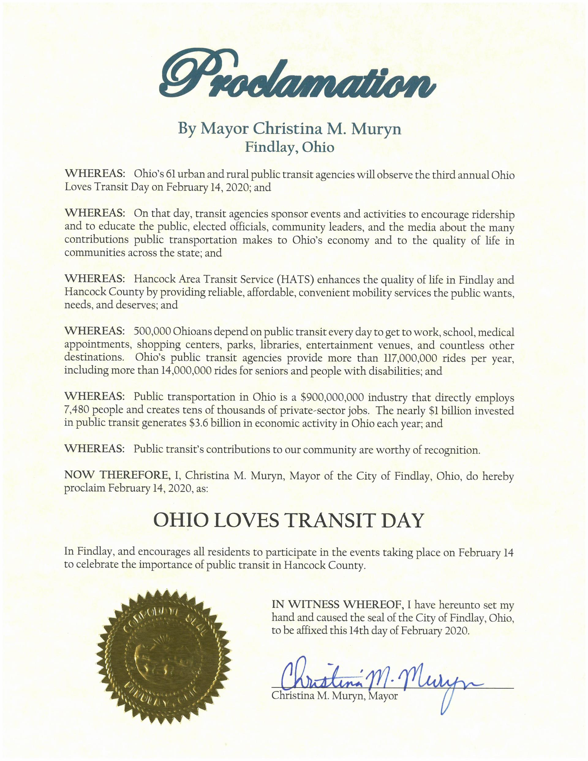 2020.02.14.Ohio Loves Transit Day Proclamation