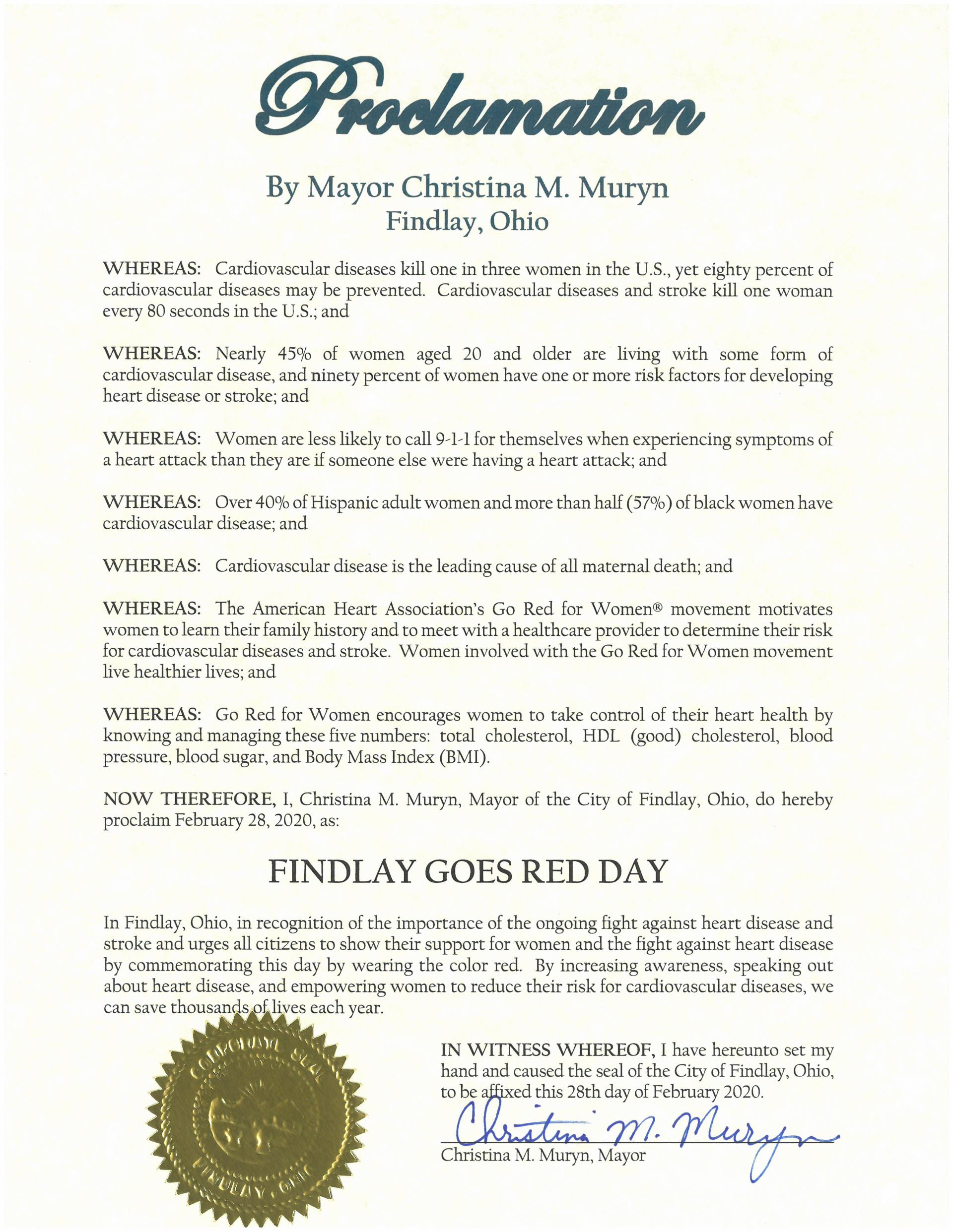 2020.02.28.Findlay Goes Red Day Proclamation