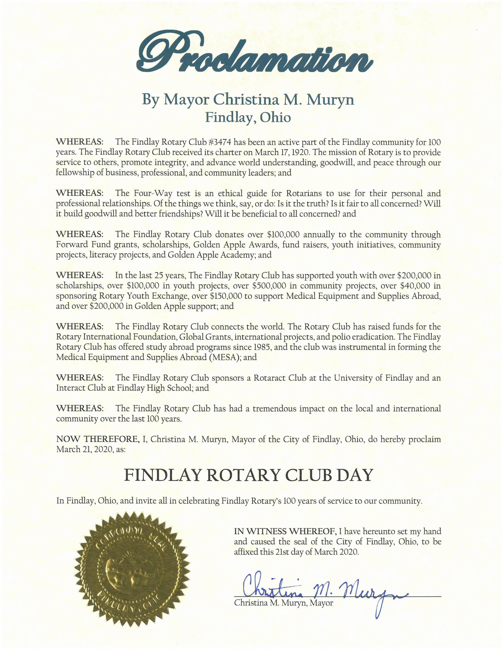2020.03.21.Findlay Rotary Club Day Proclamation