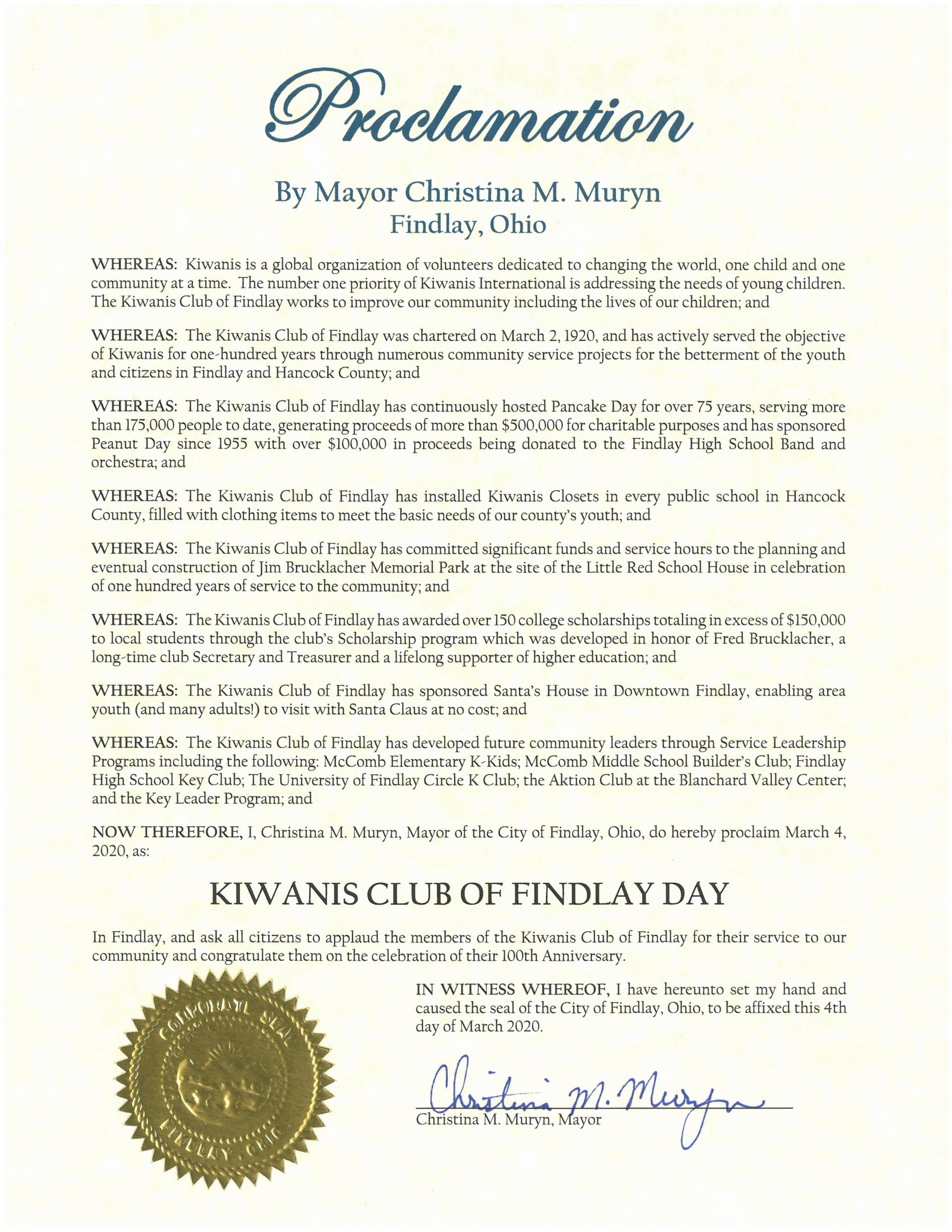2020.03.04.Kiwanis Club of Findlay Day Proclamation