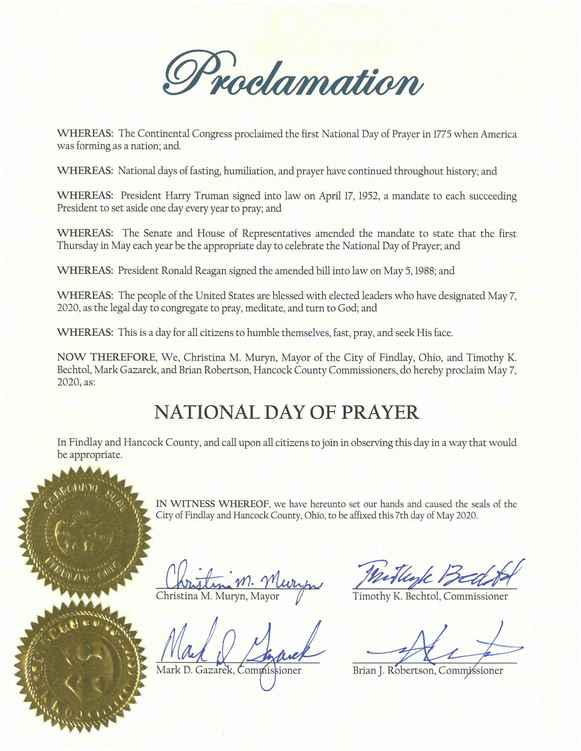 2020.05.07.National Day of Prayer Proclamation