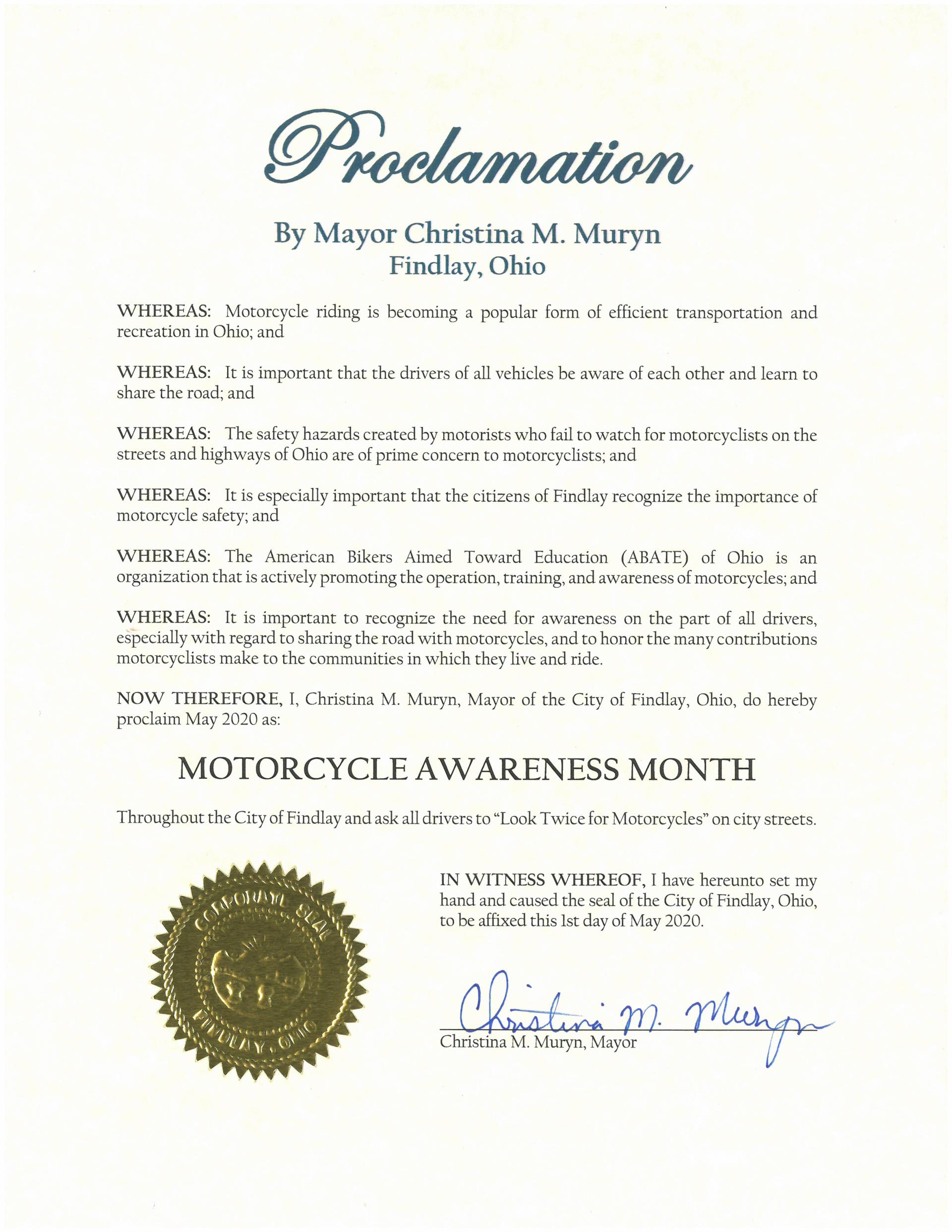 2020.05.Motorcycle Awareness Month Proclamation